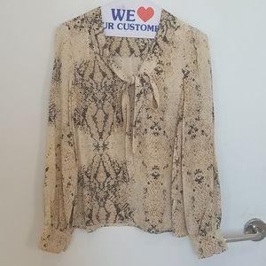 Charlotte Ronson snake print bow blouse